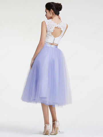 White Lace Lavender 2 Pieces Tea Length Prom Dress Homecoming ...
