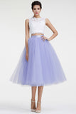 New White Lace Lavender 2 Pieces Tea Length Prom Dress Homecoming Dresses Cocktail Gowns LD295