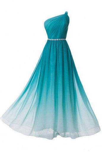 Peacock Green Gradient Chiffon Cheap Prom Dresses Party Gowns Bridesmaid Dress LD298