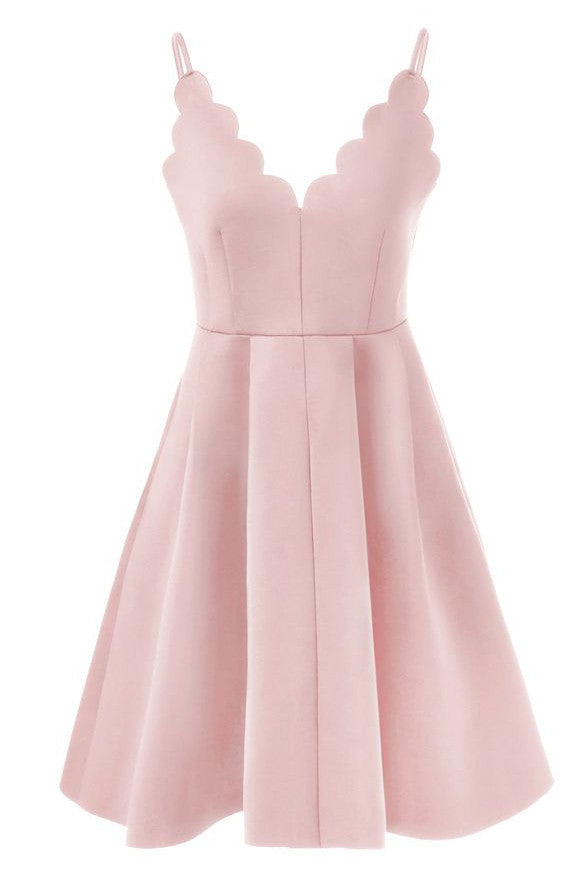 Simple Pink Satin Spaghetti Straps Cheap Short Homecoming Dresses Prom Dress LD299
