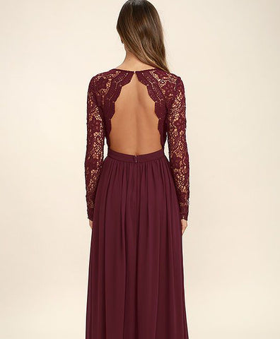 f4d080192d59 ... Dark Burgundy Lace Long Sleeves V Neck Cheap Bridesmaid Dress Prom  Dresses Evening Gowns LD300 ...