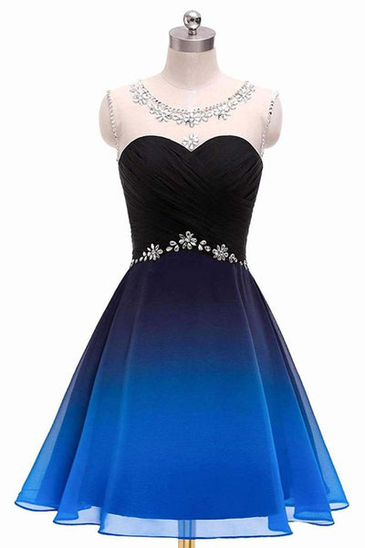Chic Royal Blue Ombre Chiffon Beaded Homecoming Dresses Short Prom Dress Hoco Gowns LD3002