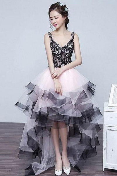 Front Short Long Back V Neck High Low Lace Fluffy Prom Dresses Homecoming Dress Hoco Gowns LD3012