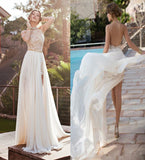 Sexy Backless High Neck Lace Slit Beach Bridal Gowns Wedding Dresses 2017 LD301