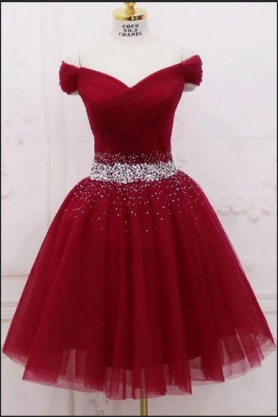 Fashion Burgundy Tulle Beaded Off the Shoulder Short Prom Dress Homecoming Dresses Hoco Gown LD3020