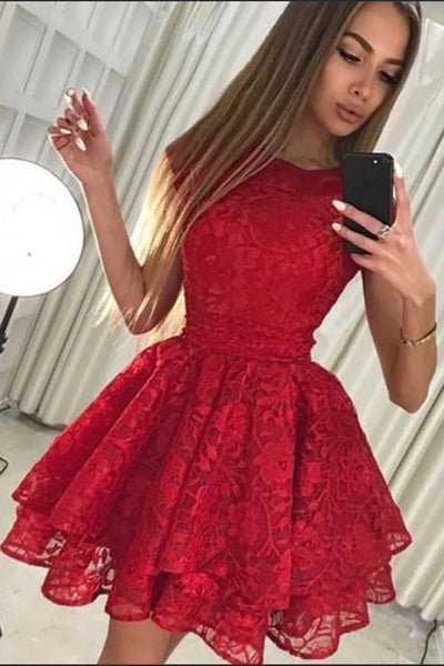 Charming High Neck Red Lace Tiered Skirt Homecoming Dresses Short Prom Dress Hoco Gowns LD3024