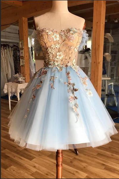 Chic Strapless Lace Appliques Light Blue Tulle Short Prom Dress Homecoming Dresses Hoco Gown LD3026