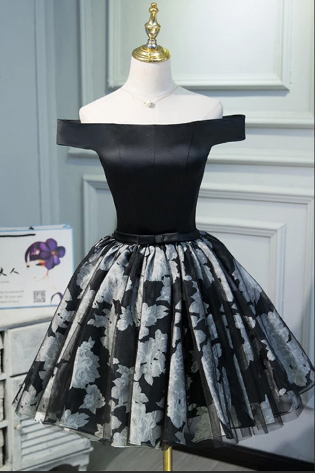 New Arrival Black Satin Off the Shoulder Cute Homecoming Dresses Short Prom Dress Hoco Gowns LD3032