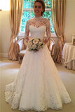 High Neck Lace Long Sleeves A Line Backless Wedding Dresses Bridal Gowns LD303