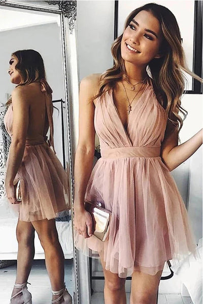 Elegant Open Back Halter V Neck Blush Pink Short Prom Dress Homecoming Dresses Hoco Gowns LD3042
