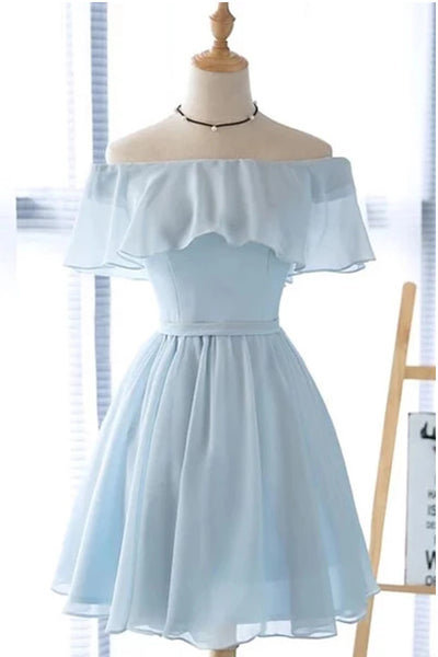 Off the Shoulder Light Blue Chiffon Cheap Short Prom Dress Homecoming Dresses Cpcktail Gowns LD3051