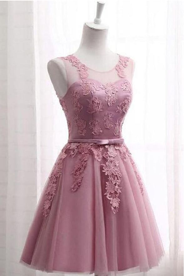 Real Photo Dusty Rose Lace Appliques Short Prom Dress Homecoming Dresses Hoco Gowns LD3056