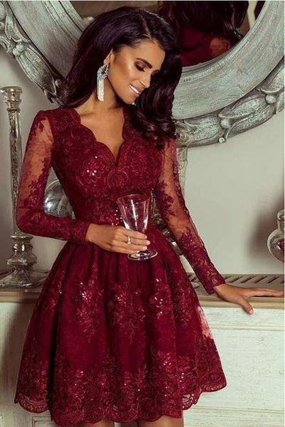 Chic Burgundy Lace Long Sleeves V Neck Beaded Short Prom Dress Homecoming Dresses Hoco Gown LD3057