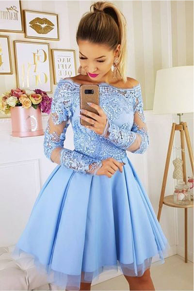 Fashion Long Sleeves Off Shoulder Light Blue Short Prom Dress Homecoming Dresses Hoco Gowns LD3059