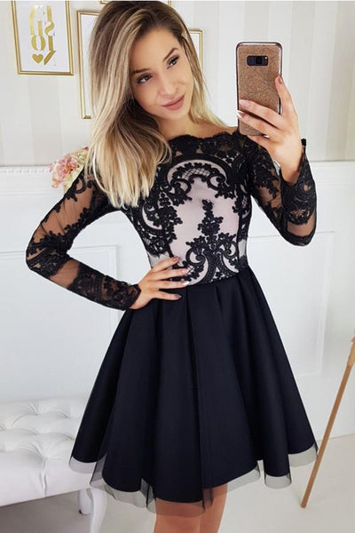 Charming Black Long Sleeves Lace Cheap Short Prom Dress Homecoming Dresses Hoco Gowns LD3060