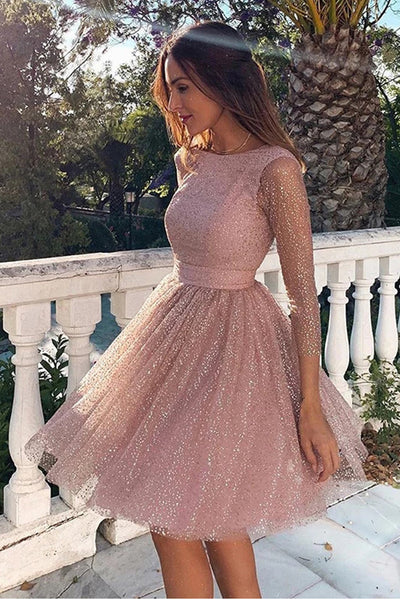 Shiny Long Sleeves Open Back Pink Homecoming Dresses Short Prom Dress Hoco Party Gowns LD3065