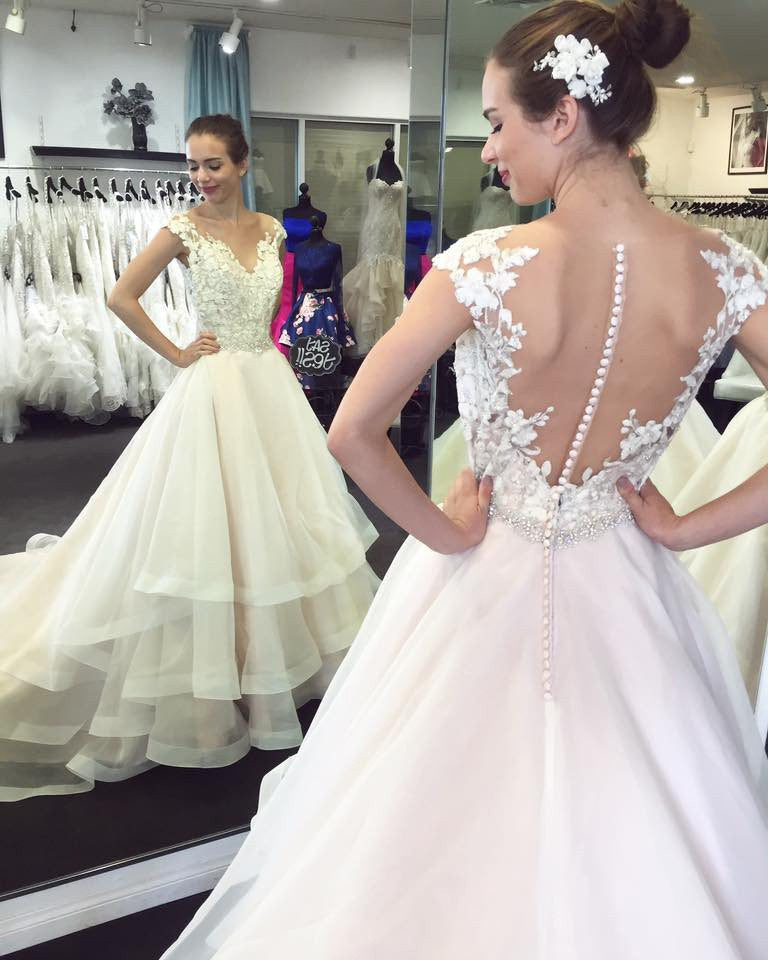 Wedding Gowns With Cap Sleeves: Cap Sleeves See Through Tiered Skirt Lace Wedding Dress