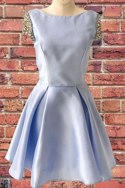 Cap Sleeves Light Blue Back-V Satin Cheap Homecoming Dresses Short Prom Dress Cocktail Gowns LD3073