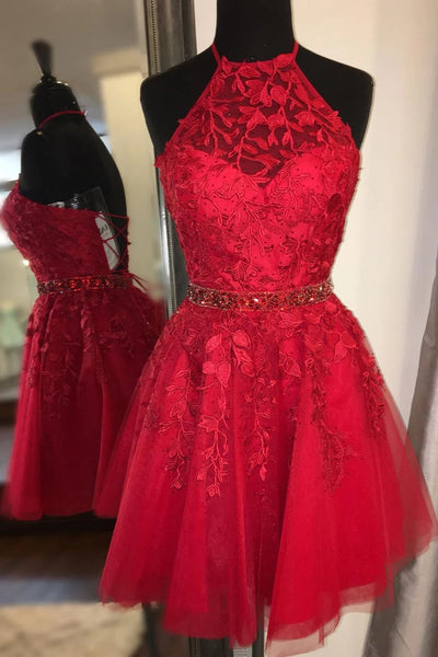 Charming Red Lace Beaded Backless High Neck Short Prom Dress Homecoming Dresses Hoco Gowns LD3078