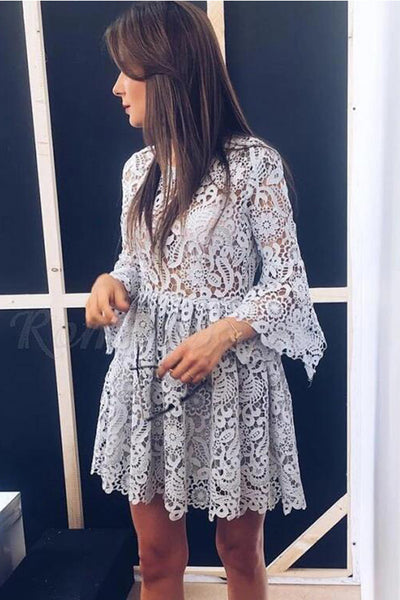 Long Sleeves Grey Lace Top See Through Short Prom Dress Cocktail Gowns Homecoming Dresses LD3081