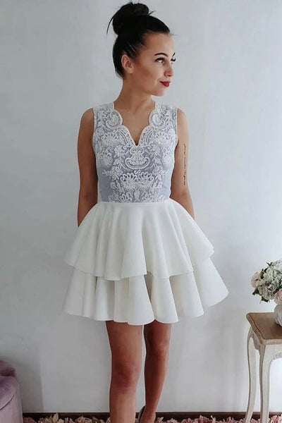 Charming White Lace Tiered Skirt Mini Length Prom Dress Cocktail Gowns Homecoming Dresses LD3082