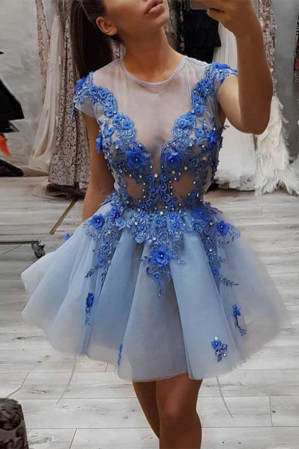 Cap Sleeve See Through 3D Flowers Appliques Short Prom Dress Homecoming Dresses Cocktail Gown LD3085