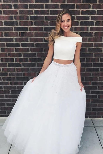 Two Piece Off the Shoulder Beaded White Long Prom Dresses Formal Grad Dress Evening Gowns LD3086