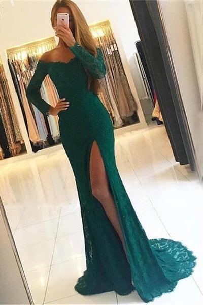Fashion Long Sleeves Lace Green Mermaid Prom Dresses Formal Grad Dress Evening Gowns LD3087