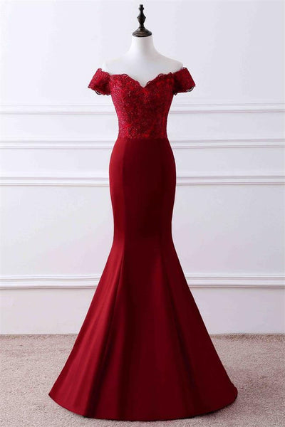 Short Sleeves Lace Red Mermaid Off the Shoulder Lace Prom Dresses Formal Dress Evening Gowns LD3089