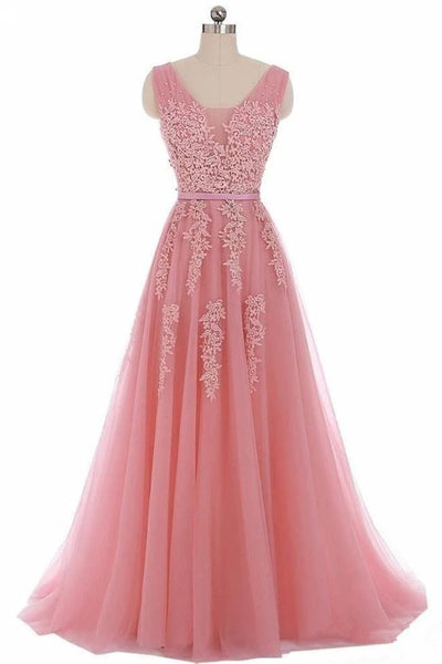 Charming Open Back Pink Lace Appliques Long Prom Dresses Formal Grad Dress Evening Gowns LD3091