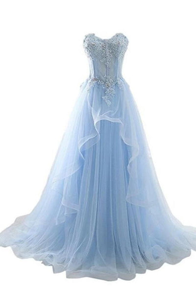 Real Picture Light Blue Lace Appliques High Low Prom Dresses Formal Evening Dress Party Gown LD3092