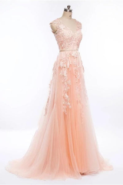 Fashion Light Pink Lace Appliques Tulle Long Prom Dresses Formal Evening Dress Party Gowns LD3093