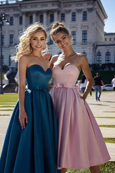 Pink Satin Strapless Elegant Short Prom Dress With Pocket Homecoming Dresses Hoco Gowns LD3095