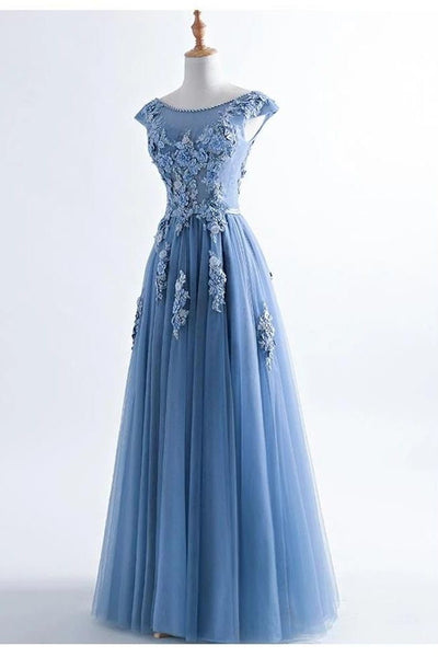 Fashion Blue Lace Appliques Cap Sleeves Long Prom Dresses Formal Evening Dress Party Gowns LD3096