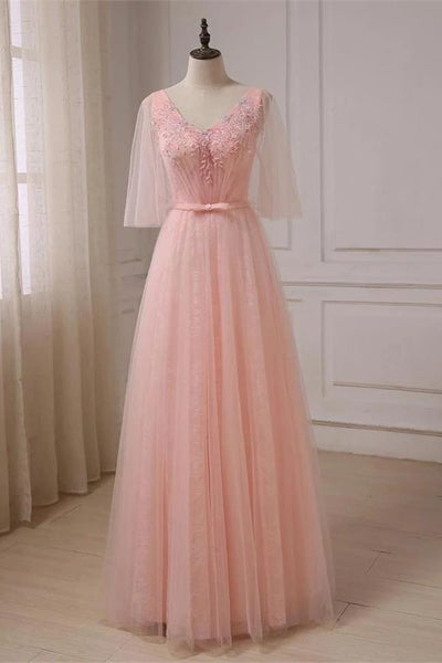 New 2019 Light Pink Applique Half Sleeves Long Prom Dresses Formal Evening Dress Party Gown LD3097