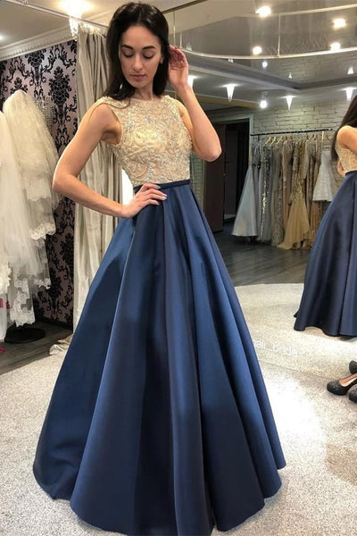 Fashion A Line Floor Length Beaded Satin Prom Dresses Formal Evening Dress Party Gowns LD3098