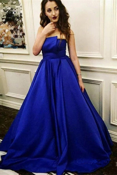 Elegant A Line Strapless Royal Blue Satin Prom Dresses Formal Evening Dress Party Gowns LD3099