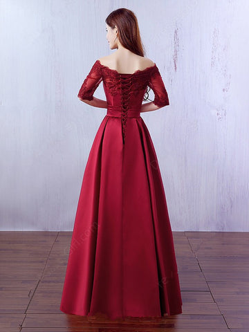 191f52c743c5f ... 3/4 Long Sleeves Dark Red Lace Evening Prom Dresses Party Gowns With  Pocket LD309 ...