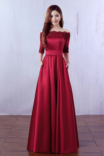 3/4 Long Sleeves Dark Red Lace Evening Prom Dresses Party Gowns With Pocket LD309