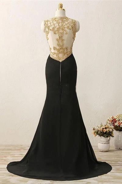 See Through Back Black Mermaid Beaded Long Prom Dresses Formal Evening Dress Party Gowns LD3101