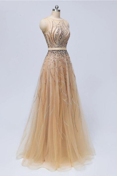 New 2019 A Line Tulle Beaded See Through Long Prom Dresses Formal Evening Dress Party Gowns LD3103
