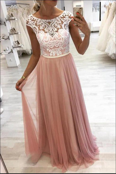 Fashion A Line White Lace Cap Sleeves Pink Prom Dresses Formal Evening Dress Party Gowns LD3104