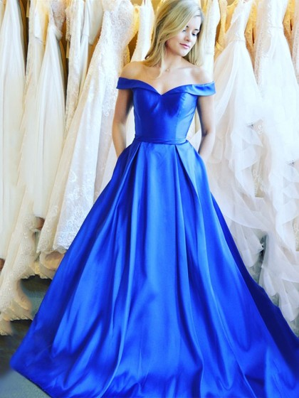Simple Off the Shoulder Royal Blue Satin Cheap Prom Dresses Formal Evening Dress Party Gowns LD3107