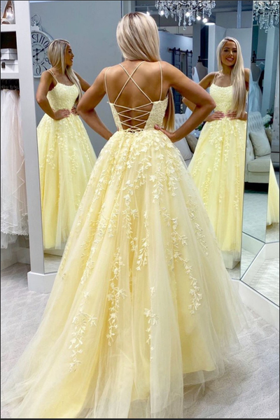 Fashion Open Back Spaghetti Strap Daffodil Long Formal Prom Dresses Evening Dress Party Gown LD3107