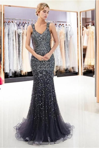 2020 Shiny Heavy Beaded Grey Mermaid Long Prom Dresses Formal Evening Dress Party Gowns LD3108