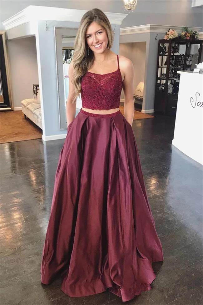 Open Back Two Piece Burgundy Spaghetti Straps Prom Dresses Formal Evening Dress Party Gowns LD3109