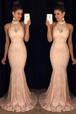 High Neck Blush Pink Lace Mermaid Long Cheap Evening Prom Dresses Party Gowns LD310