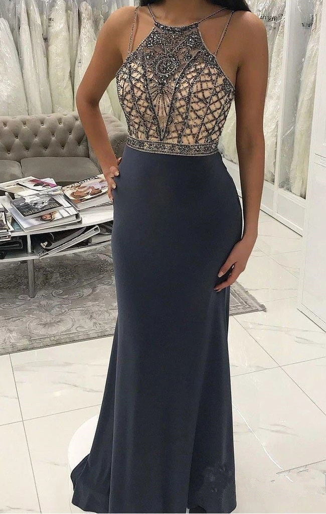 Spaghetti Straps Open Back Mermaid Beaded Prom Dresses Formal Evening Dress Party Gowns LD3110