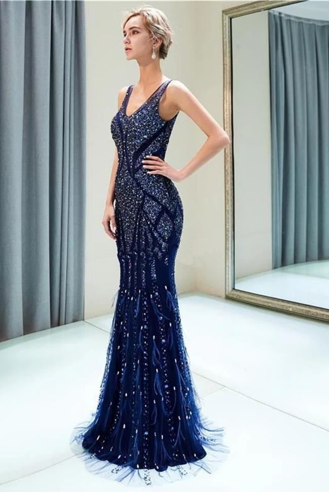 2020 New Feather Heavy Beaded Dark Blue Mermaid Long Prom Dresses Formal Evening Dress Party LD3112