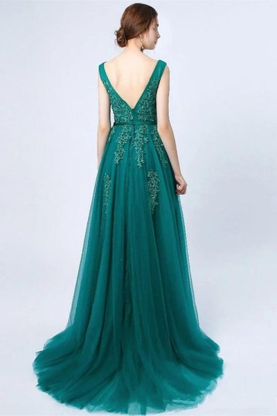 Fashion A Line Lace Appliques Green Long Prom Dresses Formal Evening Dress Party Gowns LD3114